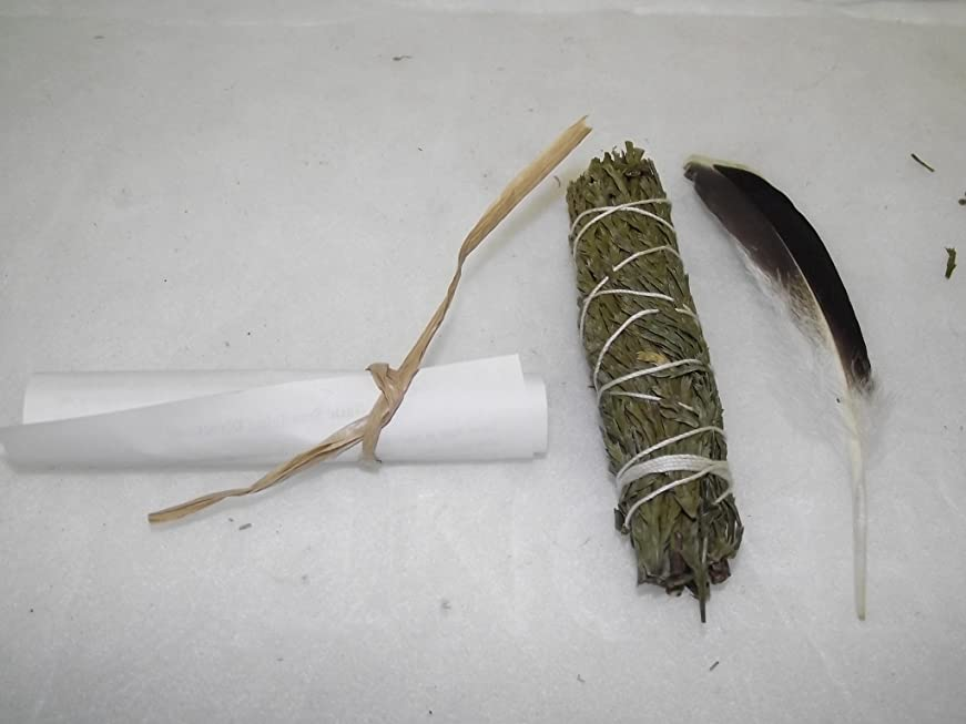 受けるスチュワーデス警察署Smudge Stick Cedar with Feather