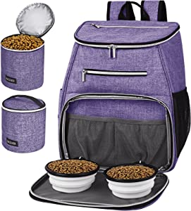 BAGLHER丨Dog Travel Bag Backpack,Airline Approved Pet Supplies Backpack,Dog Travel Backpack with 2 Silicone Collapsible Bowls and 2 Food Baskets. Purple