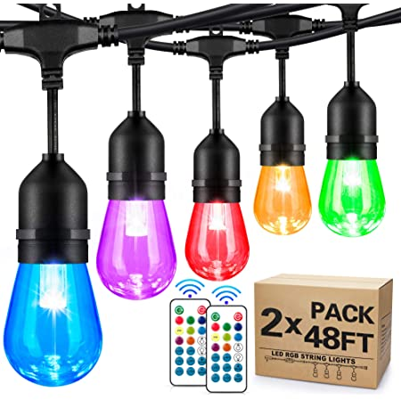 2-Pack 48FT Outdoor RGB String Lights, Cafe LED String Light with 30+5 E26 Shatterproof Edison Bulb Dimmable, Commercial Light String for Patio Backyard Christmas Party, 2 Remote, 96FT