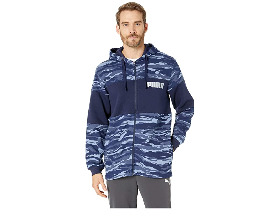 PUMA Camo Foil Full Zip Fleece Hoodie (Sodalite Blue) Men