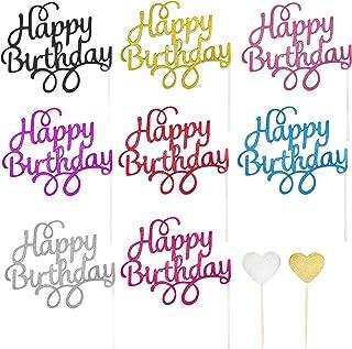 44 STKS Gepersonaliseerde Cake Toppers, 8 kleuren Happy Birthday Cake Decorations, Shining Gold Silver Hearts Cupcake Topp...