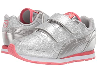Puma Kids Vista Glitz Velcro (Little Kid) (PUMA Silver/Calypso Coral/PUMA White) Girls Shoes