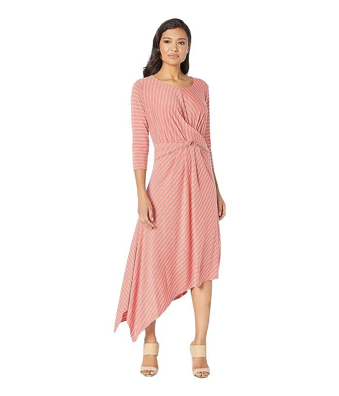 B Collection by Bobeau Clara 3/4 Sleeve Wrap Front Dress (Burnt Sienna Stripe) Women