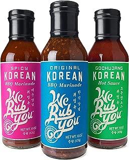 We Rub You Korean Marinade & Sauce Variety Pack (Original, Spicy, Gochujang), All Natural, Vegan - 15 Fl Oz | Pack of 3