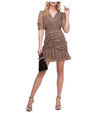 ASTR the Label Shirred Bottom Mini Dress (Black/Pink Floral) Women