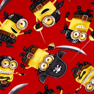 Despicable Me Fleece Pirate Minions Red Fabric by the Yard