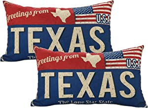 Doraloko Texas Throw Pillow Cover 12x20 Set of 2, Greetings from Lone Star State, Retro Linen Couch Cushion Pillowcase Souvenir, Decorative US Gift for Sofa Bed Chair Bench Home Office Living Room(TX)