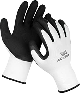 ACKTRA Wholesale Pack of 120 Pairs Premium Coated Nylon Safety WORK GLOVES, Knit Wrist Cuff, for Gardening and General Purpose, for Men & Women, WG009 White Polyester, Black Latex, Large