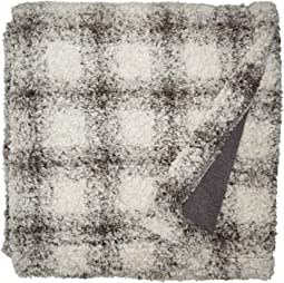 Cozy Soft Pile & Shearling Shadow Plaid Blanket with Knit Lining