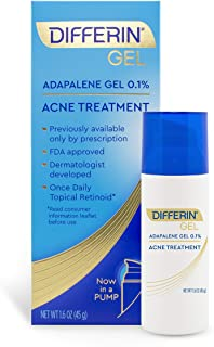 Acne Treatment Differin Gel for Face with Adapalene, Clears and Prevents Acne, Up to 90 Day Supply, 45 Gram Pump