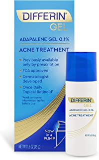 Differin Adapalene Gel 0.1% Acne treatment, 45g, 90-Day Supply Pump