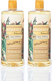 Dr. Jacobs Naturals Pure Castile Liquid Soap Face and Body Wash 32 oz. Almond Honey 2 Pack - Free of Parabens, Sulfates, Synthetics, Gltuen and GMO