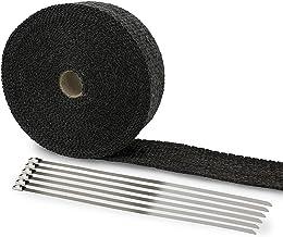 LIHAO Hitzeschutzband Fiberglas 10M Auspuffband + Kabelbinder für Fächerkrümmer Auto..