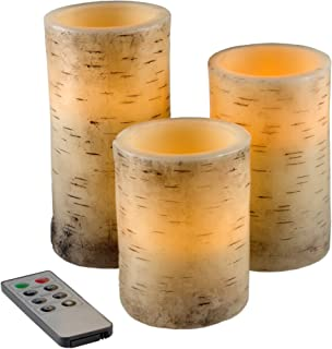 Lavish Home Square Color Changing Flameless Candle with Remote - 3 pc Birch-Bark