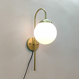 SINOMAN Modern Design Golden J Globe Metal Wall Light Sconce Lamp with Glass Shade for Dining | Bedroom | Living Room | Re...