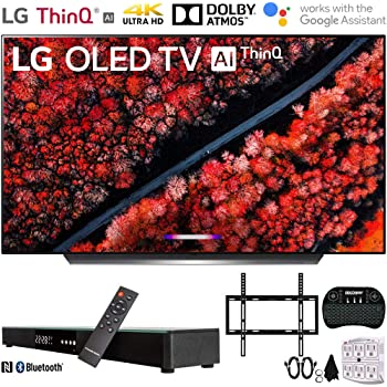 "LG OLED65C9PUA 65"" C9 4K HDR Smart OLED TV w/ AI ThinQ (2019) w/ Soundbar Bundle Includes, Deco Gear Home Theater Surround Sound 31"" Soundbar, Flat Wall Mount Kit for 45-90 inch TVs and More"