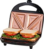 ساندویچ ساز Gotham Steel، Taster و Electric Panini Grill با سطح مس فوق العاده غیر استیک - باعث می شود 2 ساندویچ در دقیقه با عملا بدون تمیز کردن ، با لبه های برش آسان و چراغ های شاخص