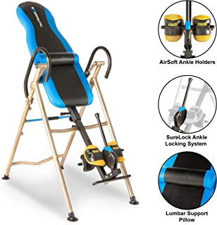 EXERPEUTIC Inversion Table with AIRSOFT NO PINCH Ankle Holders, SURELOCK Safety Ratchet..
