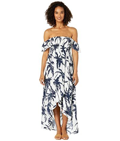American Rose Bella Off the Shoulder Tropical Maxi Dress (Off-White/Navy) Women
