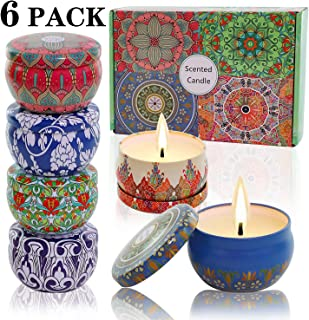 Scented Candles Soy Wax 6-Pack Gift Package Vanilla Lavender Rose orange lemon Amber musk Natural for Stress Relief and Aromatherapy Candle fragrant sets gifts for women Lasting 120Hours 2.5Oz per tin