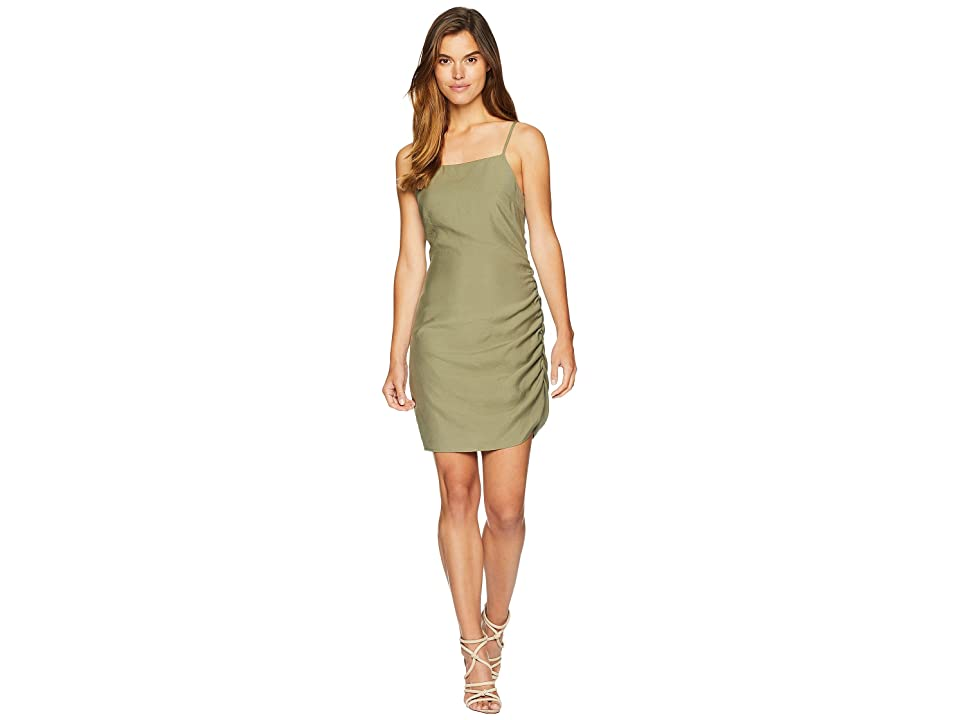 J.O.A. Asymmetrical Ruched Dress (Olive) Women