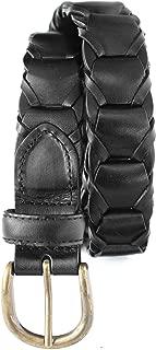 768-BLK- Men's Casual Vintage Genuine Cowhide Full grain Leather Link Belt