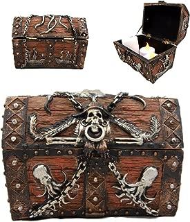 Ebros Gift Caribbean Kraken Octopus Pirate Haunted Chained Skull Decorative Treasure Chest Box Jewelry Box Figurine 5