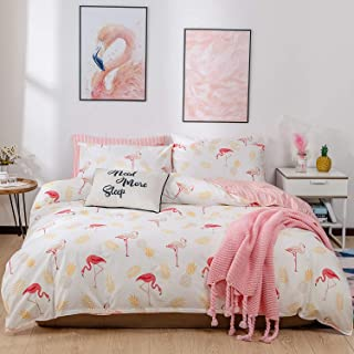 Kosa Bedding 3 Pieces Duvet Cover Set,Premium Cotton,Pink Flamingo Birds Pattern,Comforter Cover with Zipper Closure,Soft and Easy Care,Reversible Pattern Bedding Set for All Season (Twin Size)
