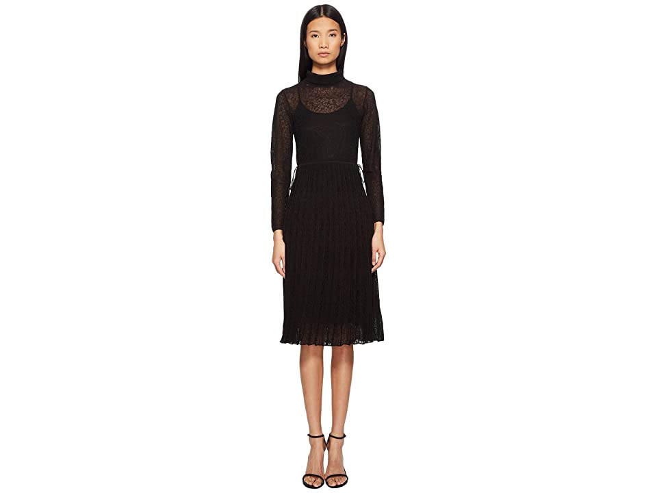 M Missoni Solid Lace Plisse Dress (Black) Women