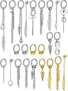 24 Pieces Stainless Steel Huggie Hinged Hoop Earrings Dangle Hoop Earrings Long Chain Pendant Earrings for Women Girls Men...