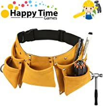 YITOOK Kids Tool Belt Adjustable Children's Carpentry Tool Candy Pouch Heavy Duty Child's Construction Tool Apron for Costumes Dress Up Role Play (Yellow)