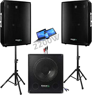 PACK Sono DJ IBIZA CUBE 1512 + PIEDS + CÂBLES