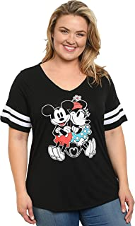 Disney Women Junior Plus Size Mickey & Minnie Mouse V Neck T Shirt