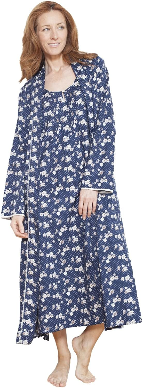 Cyberjammies 1211 Women's Nora pink bluee Floral Dressing Gown Robe