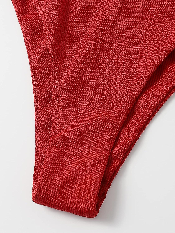 SheIn Women's 3packs Leopard High Cut Underwire Bikini Swimsuit with Beach Skirt