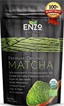 Organic Matcha Green Tea Powder by Enzo Full with Strong Milky Flavour, Easy to Dissolve in Hot Water. Perfect for Latte, Ice cream, waffles and baking (Black Label)