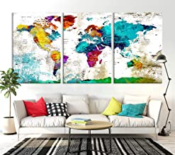 Navy Blue World Map Wall Art by My Great Canvas | Multi Panel X-Large Hanging Canvas Print for Home Decor | Track Your Travels with This Colorful Antique Looking Map | Framed & Ready to Hang