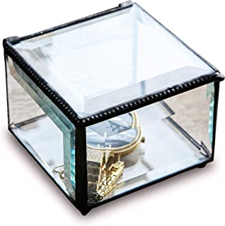 Utopz Retro Clear Glass Box Keepsake Jewelry Trinket Box Home Decor Beveled Glass Display Box