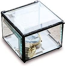 Utopz Retro Clear Glass Box Keepsake Jewelry Trinket Box Home Decor Beveled Glass Display Box