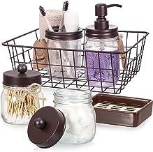 Mason Jar Bathroom Accessories Set 6 Pcs - Mason Jar Soap Dispenser & 2 Apothecary Jars & Toothbrush Holder & Ceramic Drai...