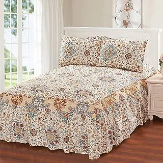 Glory Home Design Hailey 3 Piece Bedspread Set with Attached Bed Skirt - Beige Medallion - Beige Medallion Queen
