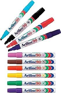 Artline 90 Permanent Marker 5MM Chisel Nib 10 Colour Pack of 12