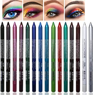 15 Colors Eyeliner Pen Set, Eye Shadow Pencil, Pearl Eyeliner Kit Metallic Eyeliner Pencil Glitter Eyeliner for Women Eye&Lip Liner Professional Eye Makeup Set Colorful Eyeliner Eye Color (15PCS)