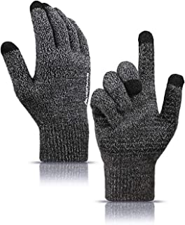 HONYAR Knit Soft Winter Gloves for Men and Women with Touchscreen - Warm Lining - Elastic Cuff - Anti-slip Grip