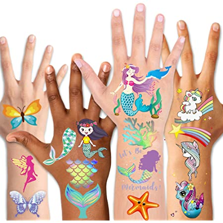 130pcs Mermaid Temporary Tattoos for Kids Girls Birthday Party Decorations Supplies Swimming Pools Toys for Children