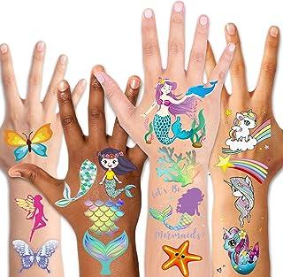 Temporary Tattoos for Kids(80pcs),Konsait Glitter Mermaid Unicorn Butterfly Tattoos for Children Girls Birthday Party Favo...