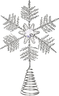 BIRDROCK HOME Snowflake Christmas Tree Topper - Silver Stainless-Steel - Heavy - Metal Coil - Treetop Holiday Decorations - Hallow Middle - Decorative Beads Glimmering Rhinestone