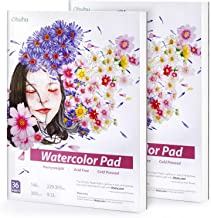 2 Pack Watercolor Pad Sketchbooks,Ohuhu 9X12IN,140 LB/300 GSM Heavyweight Papers 36 Sheets/72 Pages,Glue-Bound,Watercolor ...