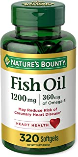 Fish Oil by Nature's Bounty, Dietary Supplement, Omega 3, Supports Heart Health, 1200 Mg, 320 Rapid Release Softgels