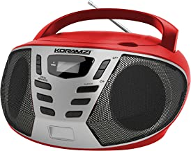 KORAMZI Portable CD Boombox w/AM/FM Radio,AUX in, Top Loading CD Player,Telescopic Antenna, LCD Display for Indoor & Outdoor,Offices, Home, Restaurants, Picnics,School,Camping (Red/Silver) CD55-RDS